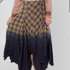 BKE Gimmicks Raw Edge Plaid Ombre Skirt Medium